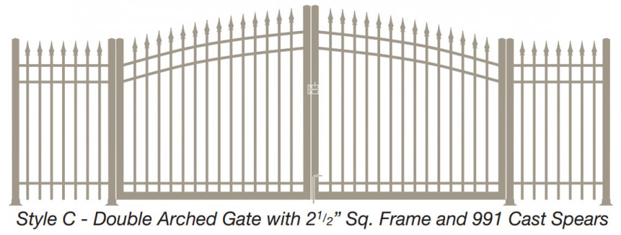 Style C - Double Arched Gate with Square Frame and Cast Spears