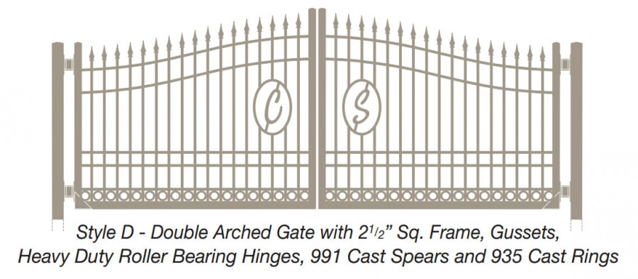Style D - Double Arched Gate with Square Frame, Gussets, Roller Bearing Hinges, Cast Spears and Cast Rings