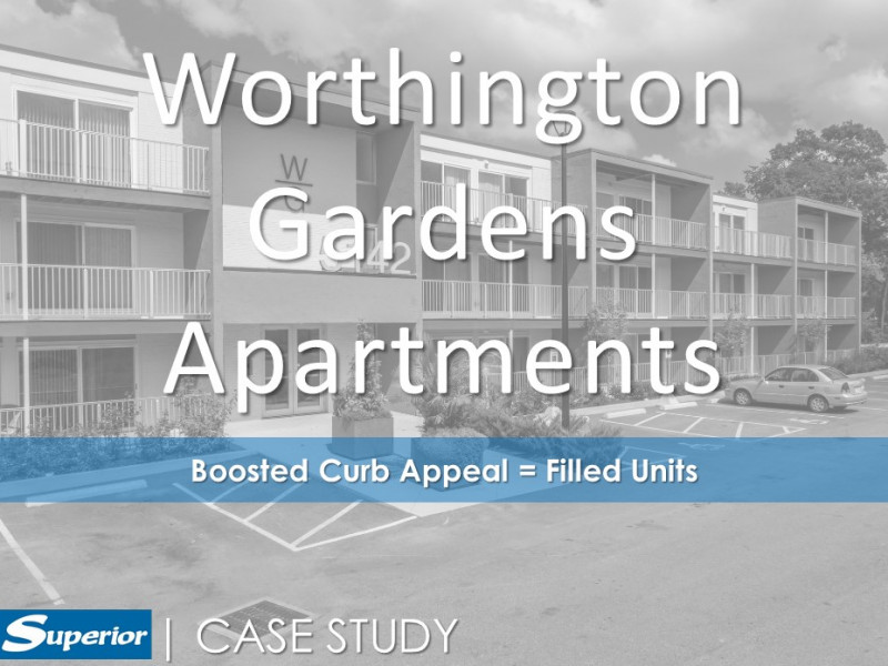 Square picket railing lines outdoor balconies at Worthington Garden Apartments in Ohio