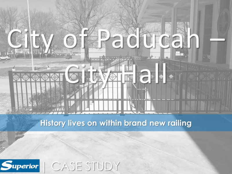 Custom diamond inserts within square picket railing outside of the Paducah, KY city hall