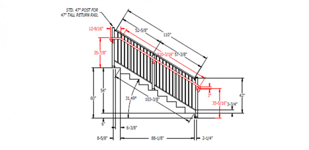 A portion of a custom project drawing with specific measurements to meet jobsite specifications