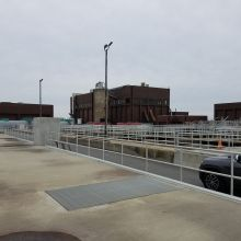 Bergen Point wastewater treatment plant protected by countless feet of pipe railing