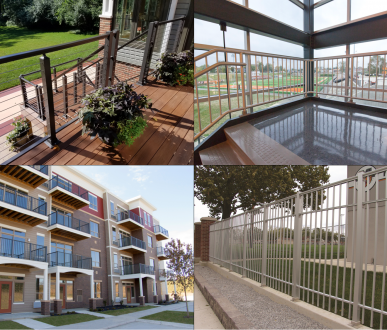A variety of aluminum railing and aluminum fence products in different applications