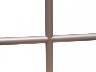 A sample of pipe railing showing the lack of visible fasteners