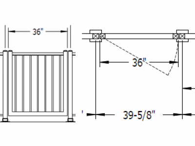 A drawing showing the detail used for aluminum picket gate customization