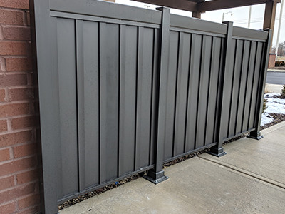 Low-Maintenance privacy railing outside of an Ohio business