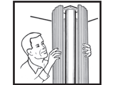 A drawing of an aluminum column wrapping around an existing structure