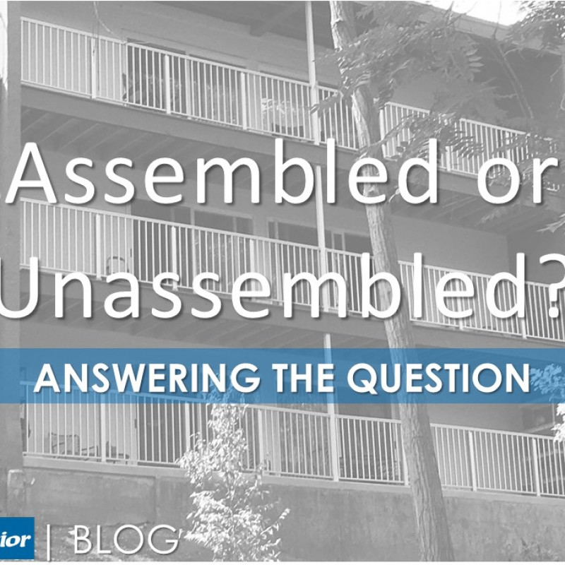 Balcony railing illustrating an answer to the question of assembled vs. unassembled railing