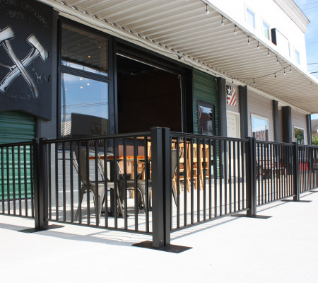 Portable Railing creates a beautiful outdoor dining area at a local brewery.